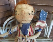 MUSTARD SEED ORIGINALS, Independence Day, Americana, United States, Stars, Stripes, TeamHaHa, Hafair, Raggedy Ann, Doll by Sharon Stevens