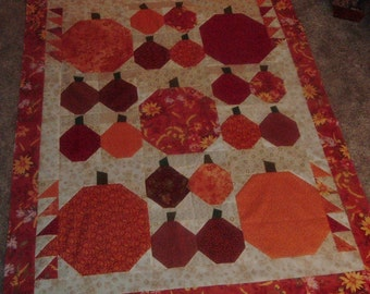 Wonky Fall Pumpkins Quilt Top to Finish 43 x 56 inches