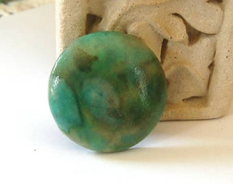 Personal Favorite Green Mossy Handmade Cabochon for Bead Embroidery Bezeling Embellishment or Making into a Pendant