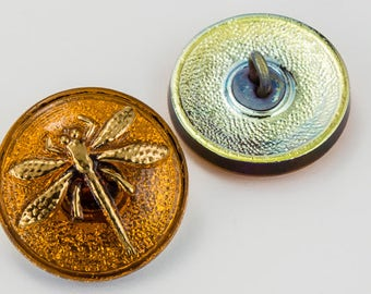 18mm Amber/Bronze Dragonfly Button #BUT021