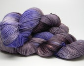 No Troubles on Disco Monkey Merino nylon stellina blend fingering weight hand painted sock yarn eggplant purple bright violet with metallic