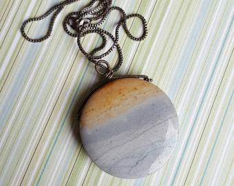 Santa Monica pendant necklace - wave jasper & oxidized sterling silver [Voyages]