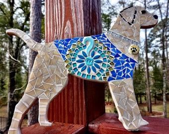 MADE to order YELLOW LABRADOR Retriever Dogs Handmade Mosaic Art pink or blue