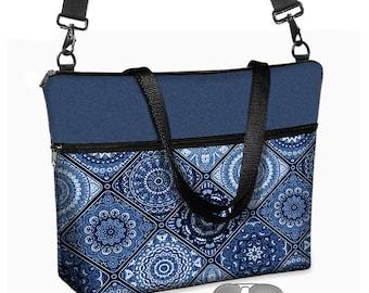 "17 inch Laptop Bag avail w/ long cross body strap / Laptop Tote Bag / Women's Briefcase / 15.6"" Laptop Case /  Porcelain Blue MTO"