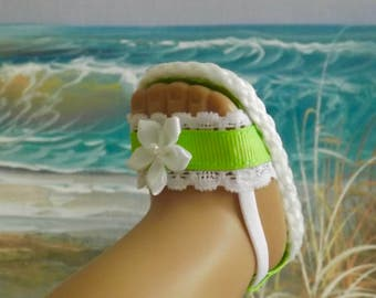 """Doll Sandals for 18"""" Doll and 13-14"""" Doll and 14.5"""" Doll (You Select Size) Lime Green Ribbon Shoes With White Lace Accents"""