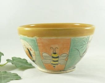 Yellow Pottery Bowl with Bumblebee, Ceramic Bowl, Handmade Soup Bowl, Bee Salad Bowl, pottery and ceramics, Kitchen Decor, Dorm Room 745