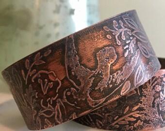 Pretty bird etched cuff OOAK