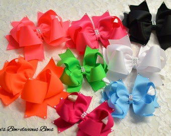 The Party Bow, 103 colors available, small, medium, large, extra large, genuine Swarovski crystals