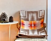 Reserved for J Wool Blanket Native American Inspired Design White Tan Yellow & Orange LIghtweight Throw