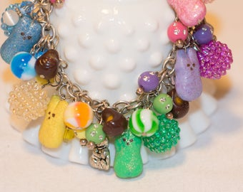 Polymer Clay Marshmallow Bunny Easter Candy Eggs Charm Fringe Bracelet