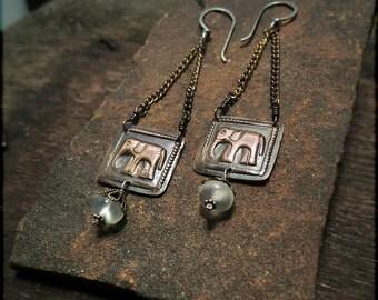 E1515 The Empyrean Elephant - Copper earrings