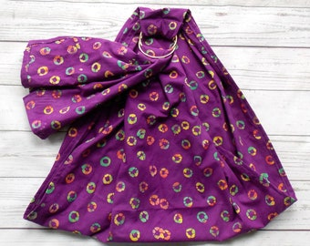 Doll Ring Sling - Doll Toy Carrier - Waldorf Toy - Baby Doll Wrap - Kid Sling - Toy Doll Sling - Child Ring Sling - Doll Sling - Purple Dots
