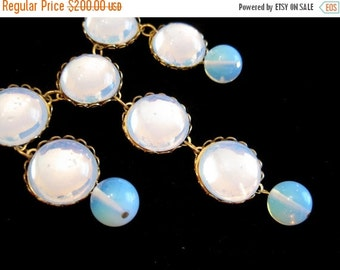 ON SALE Bib Necklace - Moonglow Bridal Necklace - Vintage Swarovski Cabochons