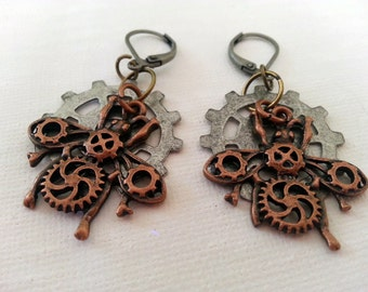 Steampunk Clockwork Insect Earrings mixed metals