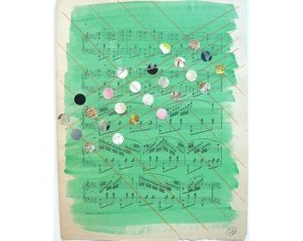 Mixed Media Art,Multicolored Dots, Green Art, Pattern, Dot Pattern, Antique Sheet Music, Organ Music, Teacher Gift, Musician Gift, Music Art