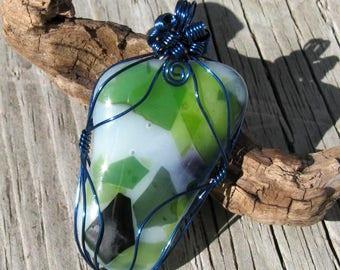 Frozen Garden Wire Wrapped Glass Pendant