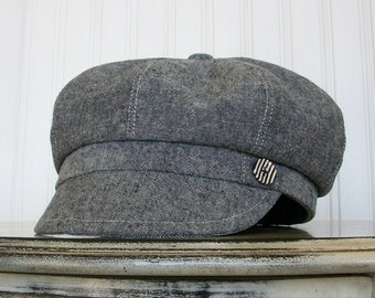Newsboy Hat For Women Indigo Linen -  Newsboy Cap, Womens Cap - Made To Order