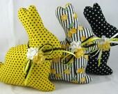 Fabric EASTER BUNNY Set of 3 Black Yellow, Stuffed Bunny, Bunny Tucks, Bowl Filler, Spring Easter Bunny Decor, Easter Ornie, Basket Filler