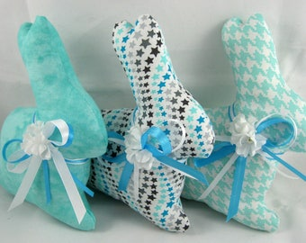 EASTER BUNNY Set of 3 in Shades of Aqua and Sea Blue, Bunny Tucks, Bowl Filler, Spring Easter Decor, Bowl Filler, Stuffed Bunny