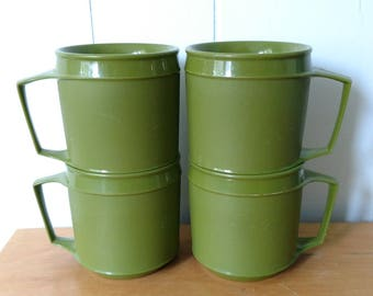 4 vintage thermo green cups Aladdin