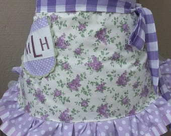 Womens Aprons - Lavender Flowered Apron - Handmade Aprons - Vintage Inspired Aprons - Annies Attic Aprons - Aprons with Lavender Rose Fabric