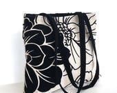 Large handbag with top zipper,vegan handmade floral shoulder tote bag bag in black and beige , fabric shoulder bag , women office  handbag