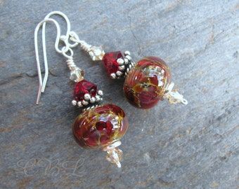 Red Lampwork Glass, Swarovski Crystal and Sterling Silver Earrings