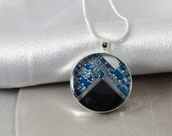 Circuit Board Necklace Blue, Upcycled Computer Jewelry, Wearable Technology, Software Engineer Gift, Motherboard Necklace, Geek Gift for Her