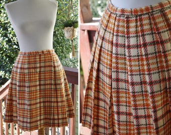 SCHOOL Days 1960's 70's Vintage Orange + Cream Plaid WOOL Pleated Mini Skirt // size XS Small // W 24 25 // by Patty Woodard