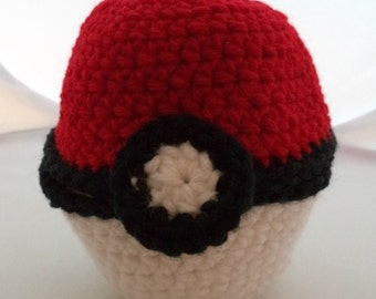 Crocheted Hinged Monster Catching Ball - Red (large)