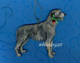 Custom Handpainted Irish Wolfhound Christmas Ornament