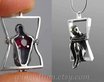 You Have My Heart silver pendant with Ruby - Ready to ship