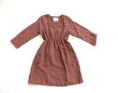SALE 218 Organic Linen Cafe Dress in Coffee Size Medium