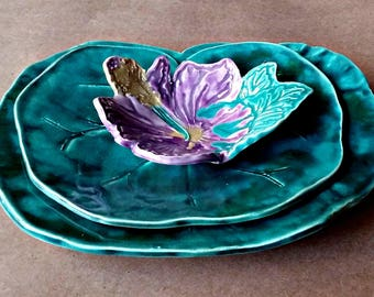 Ceramic Bowls Water Lily with Flower Bowl Jewelry storage, serving bowls, decorative bowls