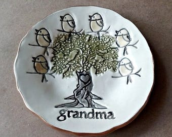 Ceramic Trinket Dish Grandma 6 birdies Mothers day