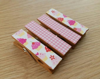 Magnets - Set of 4 - Cupcakes and Gingham - Clothespin Clips - Hostess Gift - Ready To Ship - A Little Treat