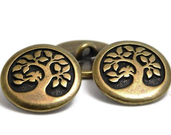 Bronze Buttons - Metal Buttons - TierraCast Button - Tree Of Life Button - Leather Findings - Wrap Bracelet Buttons - 17mm (4393) 2pcs