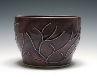 Small Purple Bowl with Raised Branch Design