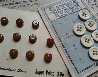 Two Vintage Button Cards ... Bone and Shoe Buttons. Reenactors.
