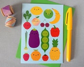 5 A Day Card - Kawaii Fruit & Vegetables