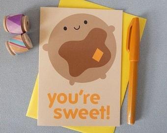 You're Sweet Valentine's Day Card - Kawaii Pancake