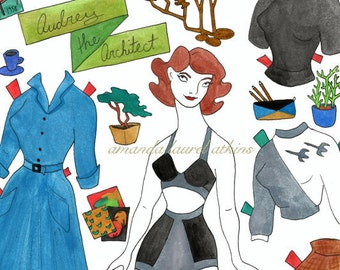 Audrey the Architect paper doll mid century modern by Amanda Laurel Atkins