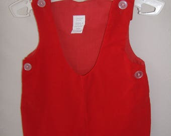 Boys' Red Velveteen Romper, Size 3-6M