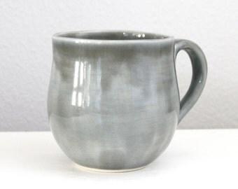 Handmade Grey Porcelain Mug - Modern Pottery Mug with Handle