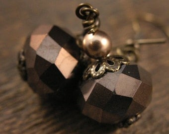 SALE Chocolate brown faceted crystal glass beads, pearls and antique brass handmade earrings