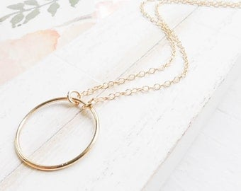 Gold Eternity Necklace Large Linked Ring Necklace Circle Necklace in Goldfill Jewelry Dainty Necklaces Open Circle Pendant O Charm