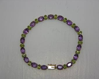 14K Gold Vintage Genuine Amethyst and Peridot Tennis Bracelet MoonMagicTreasures Gemstone Bracelet