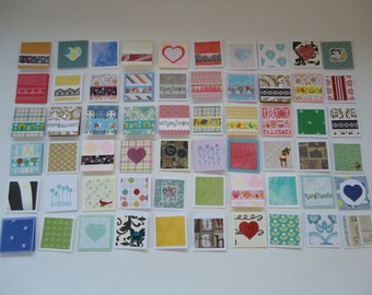 60 little mini notecards, lunch box love notes, mini shop notecards, tiny mixed lot notecards, 2 x 2 mini notecards, blank notecards, lot N1