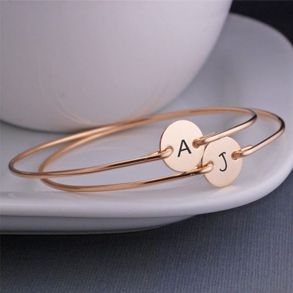 Personalized Bridesmaid Jewelry, TWO, Custom Bridesmaid Gift, Custom Gold Bracelets, Bridesmaid Initial Charm Jewelry