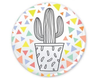 "Cactus Geometric Triangles Colorful Button 1.25"" (Pin Back or Magnet)"